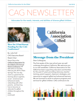 Fall 2018 CAG Newsletter