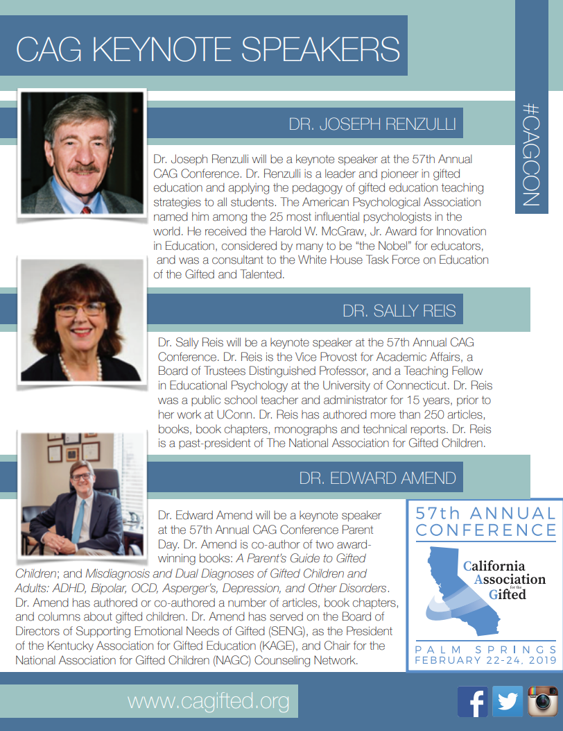 Keynote Speakers « California Association for the Gifted