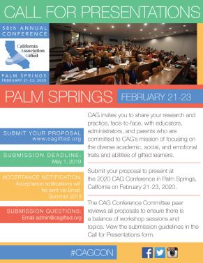 CAGcon 2020 Call for Presentations Flyer